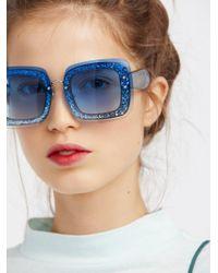 Free People - Cosmopolitan Glitter Sunglasses - Lyst