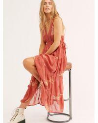 Free People Run Away With Me Embroidered Midi Dress