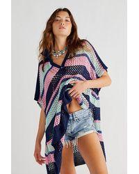 Free People Bayside Stripe Crochet Poncho - Blue