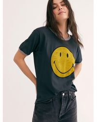 Free People Classic Smiley Ringer Tee - Black