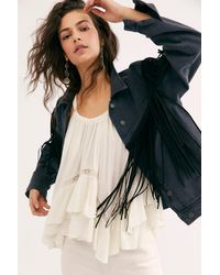 Free People After Hours Fringe Denim Jacket - Multicolor