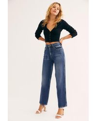 Free People Lee High-rise Stove Pipe Jeans - Blue