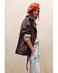 Free People Rori Slouchy Moto Jacket - Brown