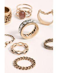 Free People Chain Ring Set - Metallic