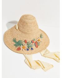Free People Wildflower Embroidered Straw Hat - Multicolour