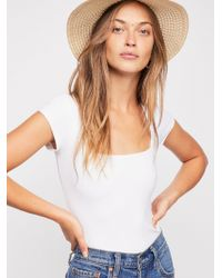 Free People - Fair And Square Neck Bodysuit - Lyst