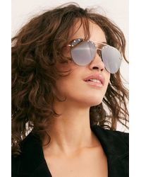 Free People Backstage Studded Aviator Sunglasses - Blue