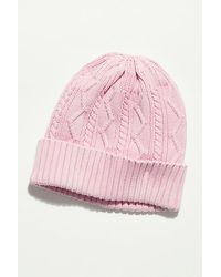 Free People Stormi Washed Cable Beanie - Pink