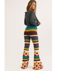 Free People Grandpa Crochet Flare Trousers By Flook - Multicolour