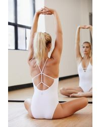 Free People Dance All Day Bodysuit By Fp Movement - White