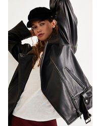 Free People Rori Slouchy Moto Jacket - Black