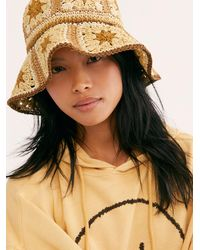 Free People Summer Of Love Straw Bucket Hat - Multicolour