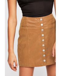 e0aab486c Lyst - Free People Oh Snap Vegan Leather Miniskirt in Black