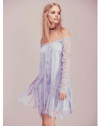 Free People Angel Lace Trapeze Mini Dress - Blue
