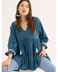 Free People Dreamweaver Embroidered Tunic - Blue