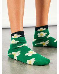 Free People Margaret Short Crew Socks - Green
