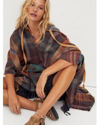 Free People Mallorca Madras Hooded Poncho - Multicolor