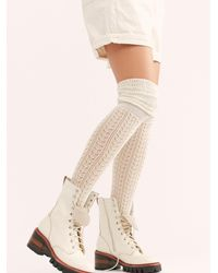 Free People Pointelle Over-the-knee Scrunch Socks - White