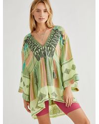 Free People Skye Embroidered Tunic - Green
