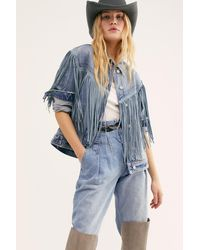 Free People After Hours Fringe Denim Jacket - Blue