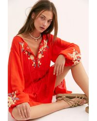Free People - Spell On Your Embroidered Mini Dress - Lyst