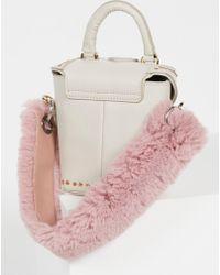 Free People Faux Fur Short Bag Strap - Purple