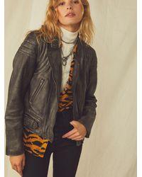 Free People Fenix Leather Moto Jacket - Black