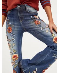 Free People Driftwood Farrah Embroidered Flare Jeans - Blue