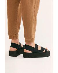 Free People Olivia Flatform Sandals By Jeffrey Campbell - Black