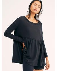 Free People Forever Your Girl Babydoll Tee - Black