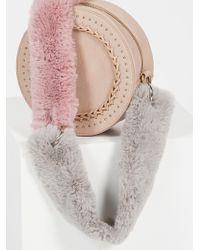 Free People Faux Fur Short Bag Strap - Gray