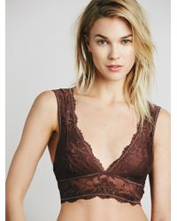 Free People | Galloon Lace Deep V Bra | Lyst