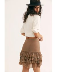 Free People Fp One Maura Ruffle Skirt - Brown