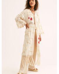 Free People Amelia Crochet Fringe Kimono - White