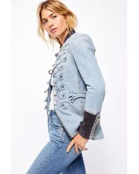 Free People Denim Seamed And Structured Jacket - Blue