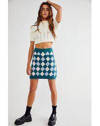 Free People Argyle Viola Jumper Mini Skirt - Blue