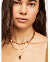 Free People - Triple Wrap Stone Necklace - Lyst