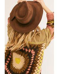 Free People Peyton Distressed Felt Wide Brim Hat By 'ale By Alessandra - Brown