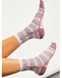 Free People Plaidulous Sheer Socks - Pink