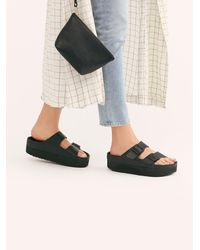Free People Arizona Platform Exquisite Birkenstock Sandals - Black