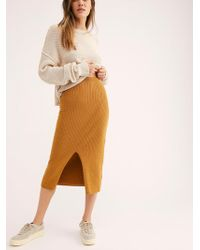 Free People - Skyline Midi Skirt - Lyst