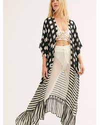 Free People Kenna Ruffle Kimono - Black