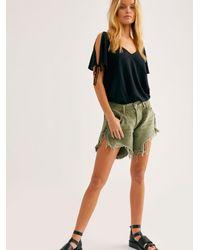 Free People Oneteaspoon Frankies Cutoff Shorts - Green