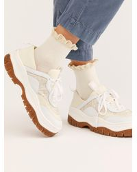 Free People Darling Waffle Knit Ankle Socks - White