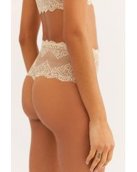 Free People So Fine Lace High-waist Thong By Only Hearts - Natural