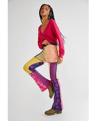 The Ragged Priest Mix Knit Flare Trousers - Pink