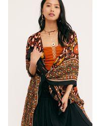 Free People Magic Dance Border Print Kimono - Multicolour