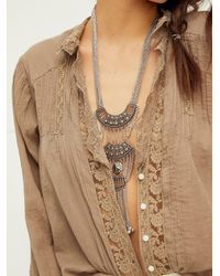 Free People Chainmail Pendant Necklace - Metallic
