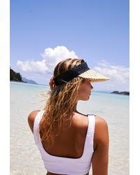 Free People Baha Colour Block Straw Visor By Beachgold - Black
