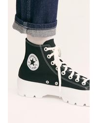 Free People Chuck Taylor All Star Lugged Hi Top Trainers By Converse - Black